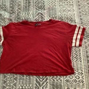 Red baseball inspired cropped shirt